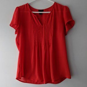 Ann Taylor Short Sleeve Tuxedo Top Red Size XS